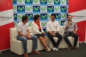 En la fotografía: Carlos Vargas, Director Financiero TEDx Managua; Jhonny Bosche, Licenciatario TEDx Managua; Mónica Zalaquette, Ponente TEDx Managua; Carlos Cuadra, Gerente de Publicidad de Telefónica y su marca Movistar en Nicaragua.