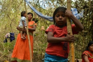 Indígenas en las orillas del río Tabasara en Tole, Chiriquí, en la frontera con Costa Rica, el 3 de marzo de 2014 (AFP/Archivos | Maria Fernanda Cruz)