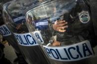 Tropas de choque durante una protesta contra el sistema electoral en Managua, Nicaragua, el 15 de julio de 2015 (AFP/Archivos   Inti Ocon)