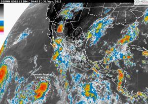 Tres huracanes simultáneos de categoría 4 agitan al Pacífico. Imagen de Conagua.
