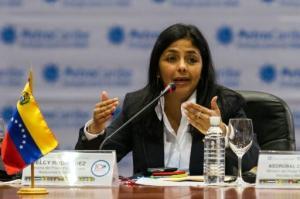 La canciller venezolana Delcy Rodríguez durante en Caracas en junio de 2015 (AFP | FEDERICO PARRA)