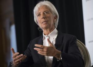 La directora gerente del Fondo Monetario Internacional (FMI), Christine Lagarde, hablando de la situación financiera mundial, en Washington el 30 de septiembre de 2015.