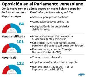 Las principales facultades que tendrá la oposición en el nuevo Parlamento venezolano. (AFP | Gustavo Izús, Anella Reta)
