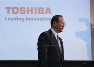 El presidente honorífico de la compañía nipona Toshiba, Masashi Muromachi, durante una rueda de prensa celebrada en Tokio, Japón. EFE/Archivo