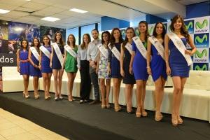 En la fotografía aparecen las candidatas a Miss Nicaragua 2016, acompañadas de Karen Celebertti, Directora de la organización Miss Nicaragua, y Carlos Cuadra, Gerente de Publicidad de Telefónica y su marca Movistar para Nicaragua.